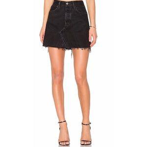 Levi black jean mini skirt raw hem size 29